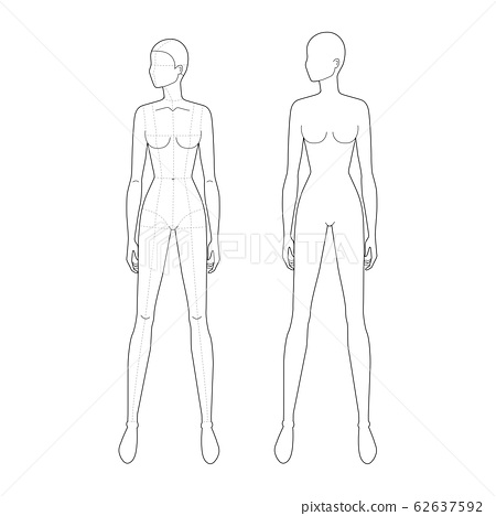 Fashion template of standing women.  62637592