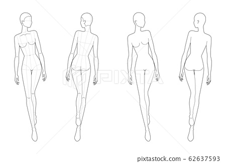 Fashion template 9 head for technical drawing with main lines.  62637593