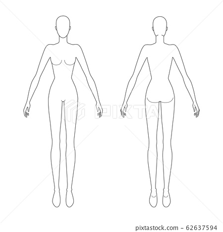 Fashion template of standing women.  62637594