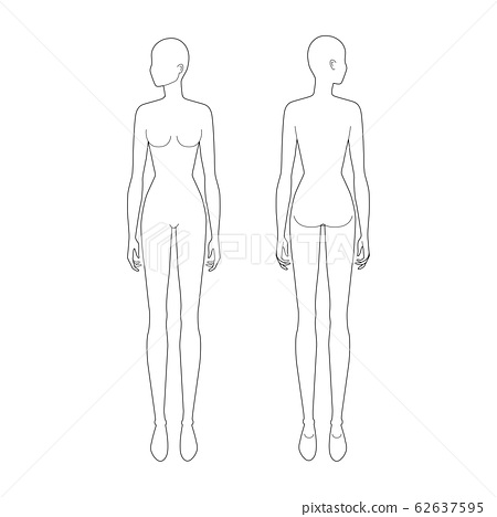 Fashion template of standing women.  62637595