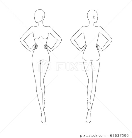 Fashion template 9 head for technical drawing.  62637596