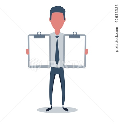 Businessman or clerk. Male character in trendy simple style with objects, flat vector illustration. 62638388