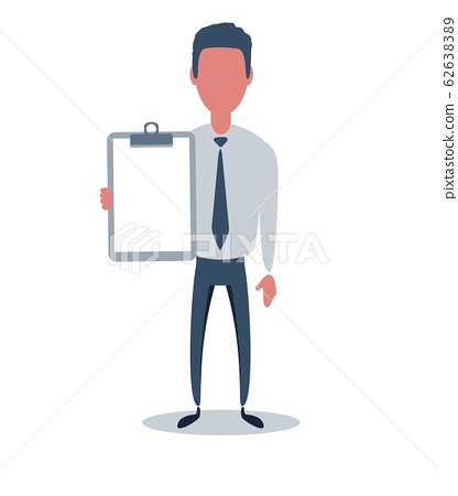 Businessman or clerk. Male character in trendy simple style with objects, flat vector illustration. 62638389