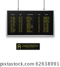 Realistic 3d digital led airport board with flight schedule. 62638991