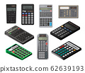 Calculator electronic technology displays with buttons vector illustration set. 62639193