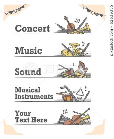 古典音樂主題標籤和橫幅材料 62639335