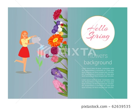 Hello spring girl watering flowers, floral banner for romantic book cover or poster and birthday cards, vector illustration.