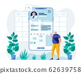 Man Uses Mobile Telemedicine App Flat Illustration 62639758