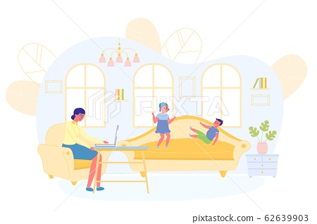 Children Play and Disturb Mom from Working at Home 62639903
