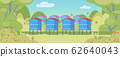 Summer Rural Landscape Background with Apiary. 62640043