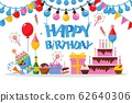 Happy birthday greeting card in flat style, vector illustration 62640306