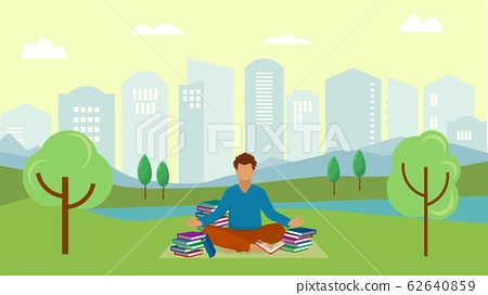 Student young man meditates in city urban park vector illustration. Meditating guy sitting on grass in yoga lotus position with many reading learning books. 62640859
