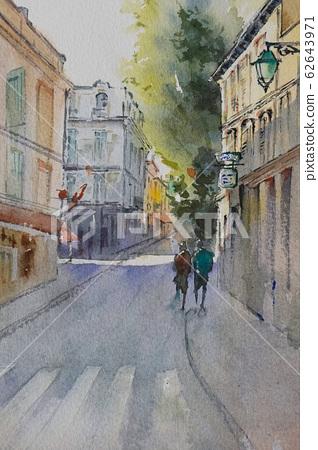 European cityscape, watercolor painting, landscape painting 62643971