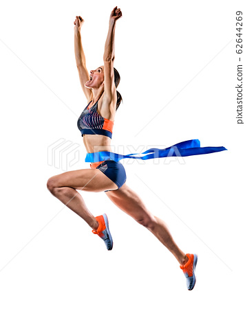 young woman runner running jogger jogging athletics isolated white background 62644269