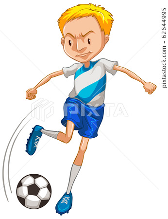 Athlete playing soccer on white background 62644995