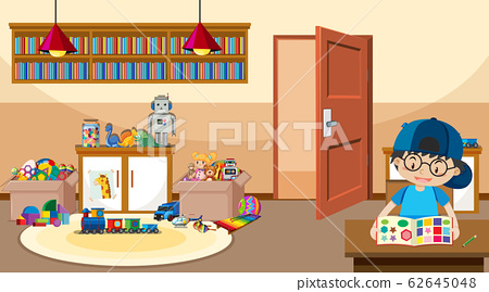 Scene with boy playing in the room 62645048