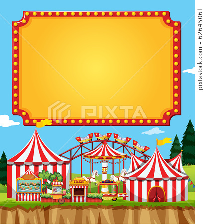 Circus scene with sign template in the sky 62645061