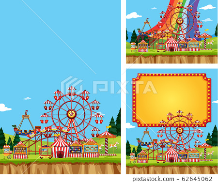 Three scenes of circus with many rides 62645062