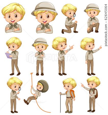 Boy in scout uniform doing different activities on 62645064