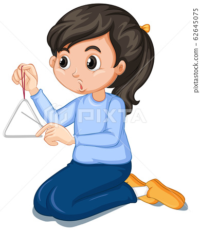 Girl in blue shirt playing triangle 62645075