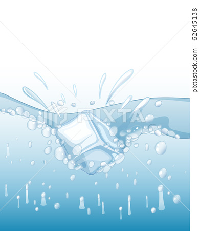 Scene with icecube splashing in clear water 62645138