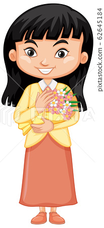 Cute girl with beautiful flowers on white 62645184