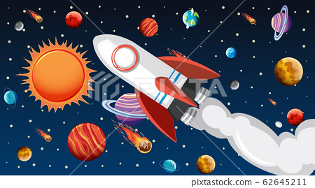 Background design with spaceship flying in the sky 62645211