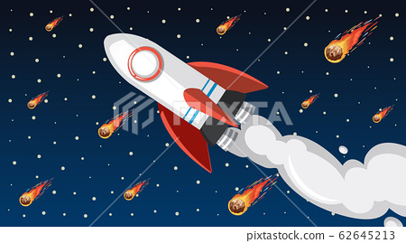 Background design with spaceship flying in the sky 62645213