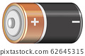 Single battery with positive and negative sign 62645315