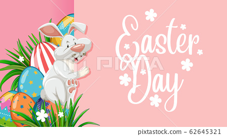 Poster design for easter with easter bunny and 62645321