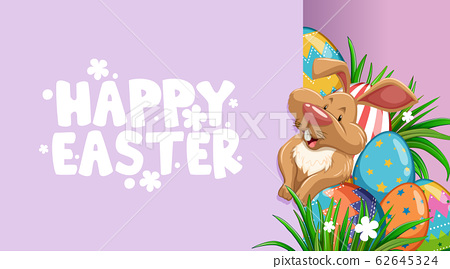 Poster design for easter with bunny and painted 62645324