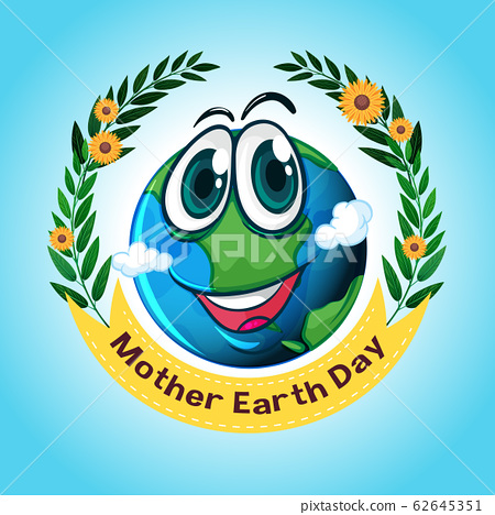 Poster design for mother earth day with big smile 62645351