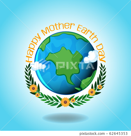Happy mother earth day with earth and blue sky 62645353