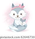 Cute baby fox and mother hand drawn cartoon animal 62646730