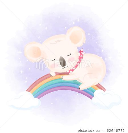 Cute koala sleep on rainbow hand drawn animal