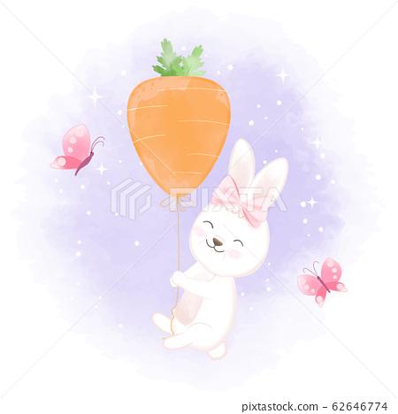 Cute rabbit with carrot balloon, hand drawn 62646774