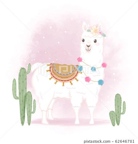 Cute Llama and cactus, hand drawn cartoon 62646781