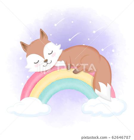 Cute fox sleep on rainbow, hand drawn animal 62646787