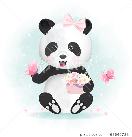 Cute panda with butterfly and flower basket hand 62646788