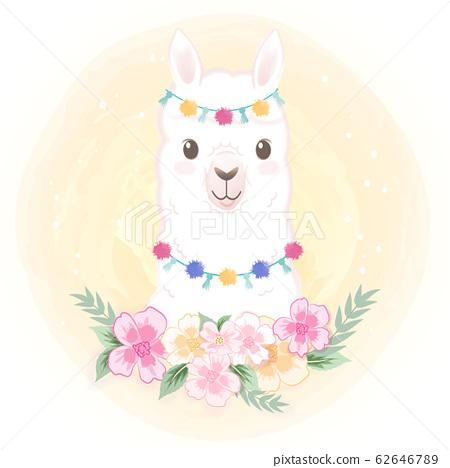 Cute Llama with flower hand drawn cartoon 62646789