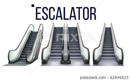 Escalator Stairway Electronic Equipment Set Vector 62646825