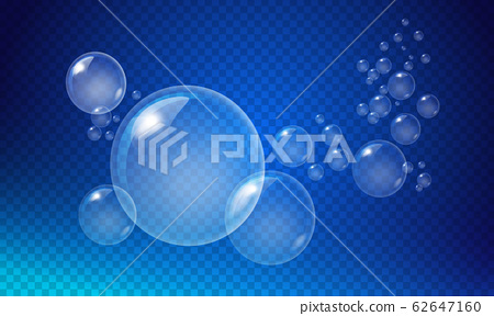 Transparent white bubbles of various sizes on a dark blue background. 62647160