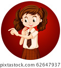 Cute girl on round background 62647937