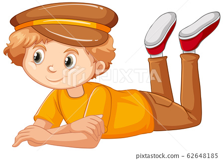 Boy in yellow shirt on white background 62648185