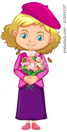 Girl in pink dress holding flowers on white 62648197
