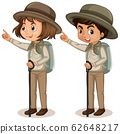 Boy and girl in scout uniform on white background 62648217