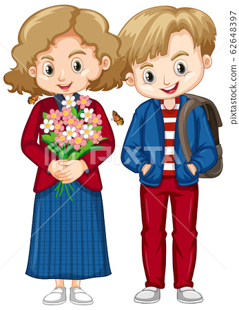 Cute boy and girl in blue and red clothes 62648397