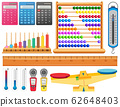 Large set of different measurement tools on white 62648403