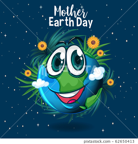 Poster design for mother earth day with happy 62650413