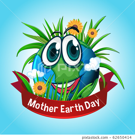 Poster design for mother earth day with happy 62650414